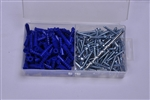 "Starborn, ANK10, 100 Pack #10 - 12 Anchors, Screws 10 x 1"" Phillips, Plastic Ribbed Anchor Kit"