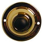 Lee Electric, BC201, Brass, Wired Classic 2 1/4 Round Push Button, With Black Button For Bell