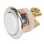 "Lee Electric 205C Silver Chrome 5/8"" Wired Unlighted Insert Flush Chime Low Voltage Push Button With White Button For Bell"