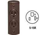 Leviton, C20-05238-000, Brown, Double Ground Surface Outlet Receptacle Duplex, NEMA 5-15R, 15 Amp 125 Volt