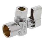 "Aqua Plumb C3712 1/4"" Turn Ball Angle Valve With 5/8"" Sweat To Connector 3/8"" Compression"