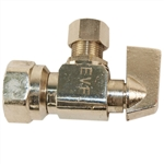"Aqua Plumb C3715 1/4"" Turn Angle Valve With 1/2"" FIP To Connector 3/8"" Compression"