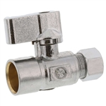 "Aqua Plumb C3717 1/4"" Turn Ball Straight Valve With 5/8"" Sweat To Connector 3/8"" Compression"