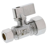 "Aqua Plumb C3719 1/4"" Turn Ball Straight Valve With 5/8"" Compression To Connector 3/8"" Compression"