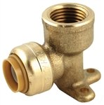 "PipeBite, CC10020, 1/2"" x 1/2"", Female Iron Pipe, Lead Free, Drop Ear Elbow, Sharkbite Like Push Fit Fittings For Use With Copper Tubing Copper Tube Size, CPVC & Pex, With Integral Tube Liner Included"