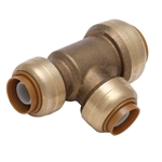 "PipeBite, CC10070, 3/4"" x 1/2"" x 1/2"", Lead Free, Reducing Tee, (Sharkbite Like) Push Fit Fittings For Use With Copper Tubing, CPVC & Pex With Integral Tube Liner Included"