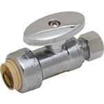"PipeBite, CC10170, 1/2"" x 3/8"" Compression, Lead Free Straight Speedy Stop Valve, (Sharkbite Like) Push Fit Fittings For Use With Copper Tubing CTS, CPVC & Pex With Integral Tube Liner Included"