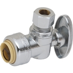 "PipeBite, CC10175, 1/2"" x 3/8"" Compression, Lead Free Angle Speedy Stop Valve, (Sharkbite Like) Push Fit Fittings For Use With Copper Tubing CTS, CPVC & Pex With Integral Tube Liner Included"