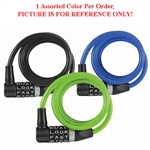 Wordlock CL-558-AS 8mm x 4' FT L Head Resettable 4 Dial Combination Bike Cable Lock 1 Assorted Color Per Order (Black, Blue & Green)