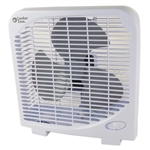 "Comfort Zone CZ9BWT White 9"" Box Fan With 2 Speed Front Control And A Molded Carry Handle"
