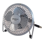 "Comfort Zone CZHV4S Silver Fan 4"" Desktop Adjustable, Metal, High Velocity Cradle Fan, Dual Powered"