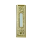 Carlon, DH1405L, Lighted White Door Chime Push Button With Gold Rectangular Housing for Wired Chime Systems