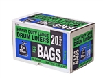 H.B. Smith Tools, DL20, 20 Count, 55 Gallon, 2 Mil, Black, Heavy Duty Large Drum Liners Trash Bag