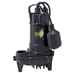 "Eco-Flo ECFECD33W 1/3 HP CAST IRON SUMP PUMP W/ WIDE ANGLE SWITCH - FULLY SUBMERSIBLE - 1-1/2"" FNPT DISCHARGE - NON-CLOGGING VORTEX IMPELLER PASSES 1/2"" SOLIDS - 8' POWER CORD - UP TO 3300 GPH - MAXIMUM VERTICAL LIFT OF 31'"