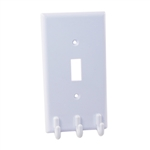 Helping Hand FQ85305 White Switch Plate With Hooks Standard Size