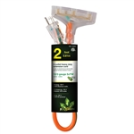 Go Green Power GG-15302 12/3 2' 3 Outlet Orange Heavy Duty Triple Tap Extension Cord Lighted End