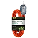 Go Green Power GG-36725 Orange 25' 16/3 Gauge Trouble Work Drop Light Portable Hand Lamps Side Socket Outlet With Metal Steel Cage Bulb Guard