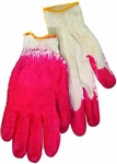 Tuff Stuff, GLV9626, 10 Pair Pack, Red Plastic Dipped Palm Cotton Glove 22CM