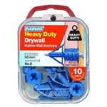 PLASPLUGS, HCF110US, 10 Pack, Heavy Duty Drywall Anchor, Caliper Locking Action