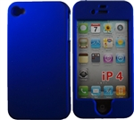 iPhone 4 & 4S, Blue, Rubberized Snap On Hard Case