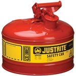 Justrite 7125100 Red 2.5 Gallon Justrite Type 1 Metal Gas Can