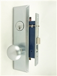 Maxtech (Like Marks 114A/26D) 1033B-26DL Satin Chrome 26D Left Hand Heavy Duty Mortise Entry Lockset, Screwless Knobs Thru Bolted Lock Set