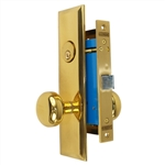 Maxtech (Marks 114DW/3 Like) Polished Brass Left Hand Heavy Duty Mortise Lock Knob Vestibule Function Always Locked Storeroom Latch Only Lockset, Screwless Knobs Thru Bolted Lock Set