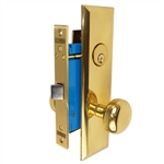 Maxtech (Marks 114DW/3 Like) Polished Brass Right Hand Heavy Duty Mortise Lock Knob Vestibule Function Always Locked Storeroom Latch Only Lockset, Screwless Knobs Thru Bolted Lock Set