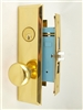 "Maxtech (Marks New Yorker 7NY10A/3 Like) 1033BFL Polished Brass Left Hand Heavy Duty Mortise Entry Lockset Screwless Knobs Thru-Bolted, 2-3/4"" Lock Set"