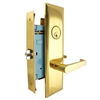 "Maxtech (Marks New Yorker 7NY92DW/3 Like) Right Hand Heavy Duty Polished Brass Mortise Lock Lever Vestibule Function Always Locked Storeroom Latch Only 2-3/4"" Lock Set, Screwless Lever Thru Bolted Lockset"