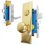 Maxtech (Marks Metro 116A/26D & 114A/3 Like) Left Hand, Satin Chrome & Brass, Heavy Duty Mortise Entry Lockset, Screwless Lever & Knob Thru Bolted Lock Set