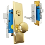 Maxtech (Marks Metro 116A/26D & 114A/3 Like) Right Hand, Satin Chrome & Brass, Heavy Duty Mortise Entry Lockset, Screwless Lever & Knob Thru Bolted Lock Set