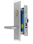 "Maxtech (Marks Metro 116A/26D-X Like) Satin Chrome 26D, Wide Face Plate, Left Hand Entrance, Heavy Duty Mortise Entry Screwless Lever Lockset Thru Bolted, 2-1/2"" Backset"