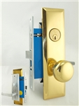 Maxtech (Marks Metro 116A/26D & 114A/3 -X Like) Satin Chrome & Brass, Wide Face Plate, Right Hand, Heavy Duty Mortise Entry Lockset, Screwless Lever & Knob Thru Bolted Lock Set