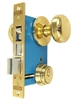 "Maxtech (Like Marks 22AC/3-W-LH) Polished Brass Left Hand Heavy Duty Ornamental Knob Rose Double Cylinder Mortise Entry Lockset For Iron Gate Doors With A 2-1/2"" Backset And A 1"" X 7-1/8"" Faceplate (For In-Swinging Doors)"