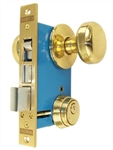 "Maxtech LHR (Like Marks 22AC/3-W-LHR) Polished Brass Finish Left Hand Reverse Double Cylinder Iron Gate Ornamental Mortise Lockset with 2-1/2"" Backset"