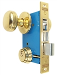 "Maxtech (Like Marks 22AC/3-W-LHR) Polished Brass Right Hand Double Cylinder Iron Gate Ornamental Mortise Lock Set with 2-1/2"" Backset (For In-Swinging Doors)"