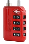 Wordlock LL-206-RD Red RESETTABLE  4 Dial Combination TSA Approved Luggage Lock Padlock