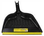 "Mintcraft Pro 2033 Black 14"" Wide Commercial Plastic Snap On Dust Pan Dustpan With Rubber Lip"