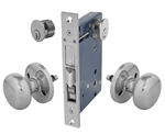 "Em-D-Kay (Like Marks 22AC/26D-W-RH), Satin Chrome 26D, Right Hand Reverse, Ornamental Knob Rosette Mortise Entry Lockset Iron Gate Door Double Cylinder Lock Set, 2-1/2"" Backset, 1"" X 7-1/8"" Faceplate"