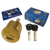 "Nabob (Like Mul-T-Lock), Rim/Mortise 1-1/8"" Cylinder Combo Interchangeable Brass, HIGH SECURITY, 006 KEYWAY"
