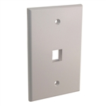 "Quest NFP-5018 White 1 Port Keystone Single Gang Oversized Keystone Wall Plate For CAT5E RJ45 Inline Coupler 4.875"" x 4.75"" x 0.25"""