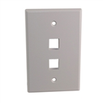 "Quest NFP-5028 White 2 Port Keystone Double Gang Oversized Keystone Wall Plate For CAT5E RJ45 Inline Coupler 4.875"" x 4.75"" x 0.25"""