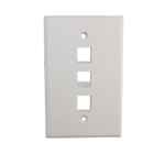 "Quest NFP-5038 White 3 Port Keystone Triple Gang Oversized Keystone Wall Plate For CAT5E RJ45 Inline Coupler 4.875"" x 4.75"" x 0.25"""