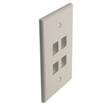 "Quest NFP-5048 White 4 Port Keystone Quad Gang Oversized Keystone Wall Plate For CAT5E RJ45 Inline Coupler 4.875"" x 4.75"" x 0.25"""