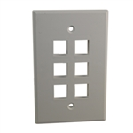 "Quest NFP-5068 White 6 Port Keystone Hex Gang Oversized Keystone Wall Plate For CAT5E RJ45 Inline Coupler 4.875"" x 4.75"" x 0.25"""