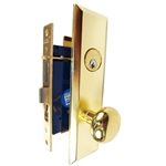 Guard Security Metro Version (Marks 114A/3 Like) P8888RAK Right Hand Polished Brass US3 Apartment Mortise Entry Lockset, self-Adjusting spindles with Screwless Knobs Thru Bolted Lock Set
