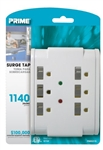 Prime, PB802115, White, 6 Outlet Surge Protector Tap, Auto Shut Down, 1140 Joules