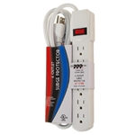 Power Play Products PP-16106MS White 6 Outlet Surge Protector with 250 Joules And 6' Foot Cord