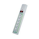 Power Play Products PPP PP-56113DG-B White 6 Outlet Daylite Surge Protector With 3' Cord, 400 Joules